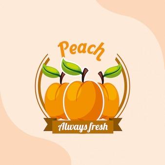 Emblème toujours frais de pêche aux fruits