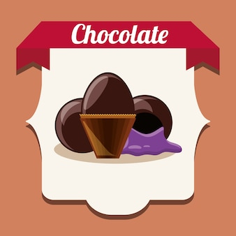 Emblème avec des truffes au chocolat sur cadre blanc et fond orange