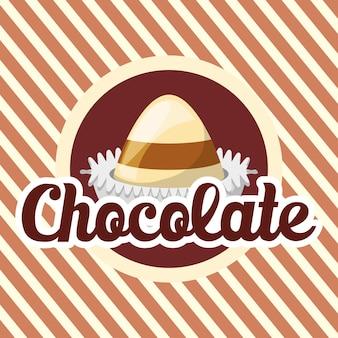 Emblème avec des truffes au chocolat sur fond rayé blanc et brun