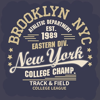Emblème de typographie d'usure de new york brooklyn sport, graphiques de timbre de t-shirt, impression de tee, conception de vêtements de sport
