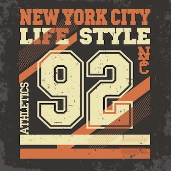 Emblème de typographie de vêtements de sport de new york, graphiques de timbre de t-shirt, impression de tee vintage, conception de vêtements