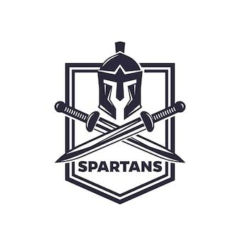 Emblème de vecteur de spartiates avec casque et épées