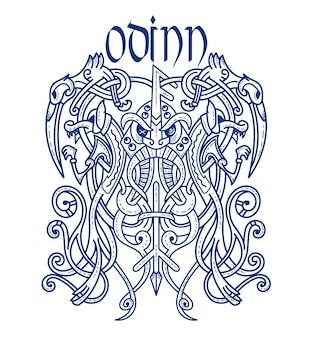 Emblème viking dieu effrayant odin
