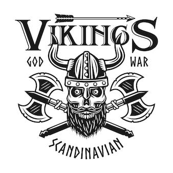 Emblème de vikings avec crâne barbu en casque à cornes et deux axes croisés