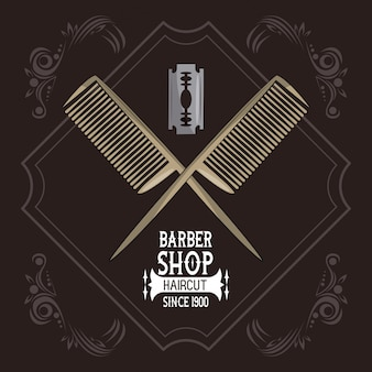 Emblème vintage barbershop