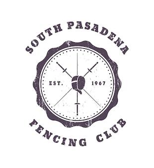 Emblème vintage club d'escrime grunge