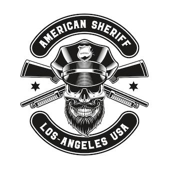 Un emblème vintage d'un crâne de policier