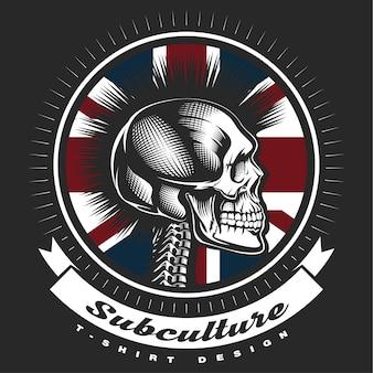 Emblème vintage crâne punk sur fond noir. le texte est sur le calque séparé.