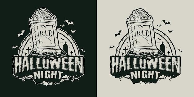 Emblème vintage d'halloween avec lettrage pierre tombale et chauves-souris volantes dans un style monochrome