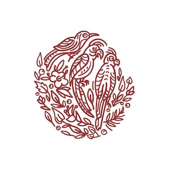 Emblème vintage oiseaux tropicaux et plantes en symbole orné illustration graphique dessinée à la main en cercle