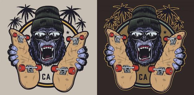 Emblème vintage de skateboard coloré
