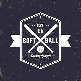 Emblème vintage de softball, logo