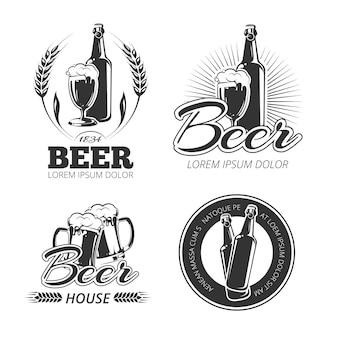 Emblèmes de bière vintage, étiquettes, badges, ensemble de logos.