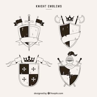 Emblèmes de chevaliers avec des rubans