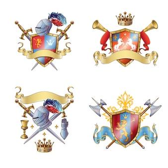 Emblèmes colorés de chevalier
