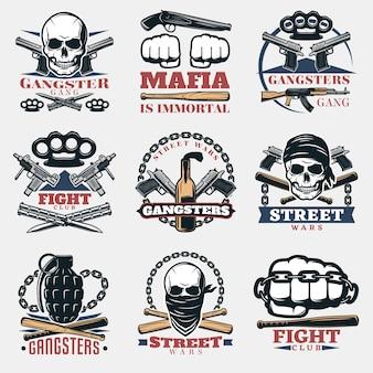 Emblèmes de combat de mafia en couleur
