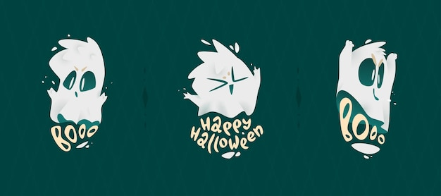 Emblèmes de conception de dessin animé pour halloween