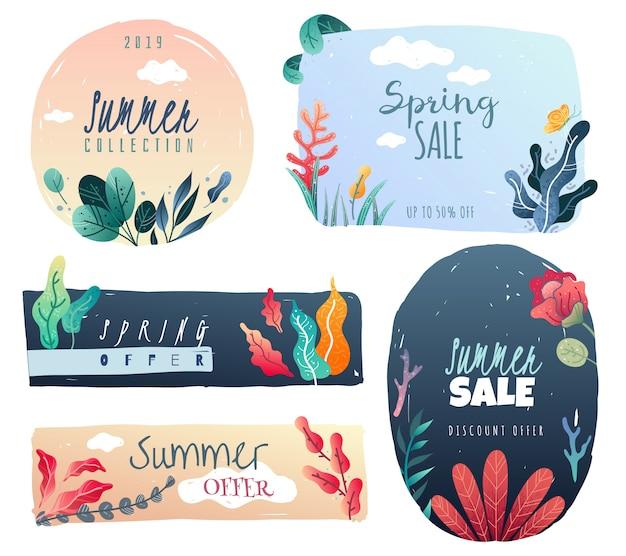 Emblèmes décoratifs printemps été. éléments décoratifs dessinés. style tendance.