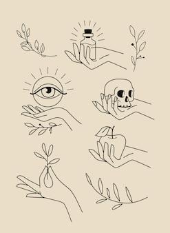 Emblèmes avec des feuilles de mains féminines et des éléments magiques