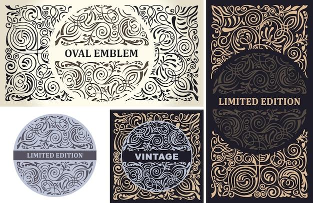 Emblèmes floraux royaux calligraphiques pour la conception de café