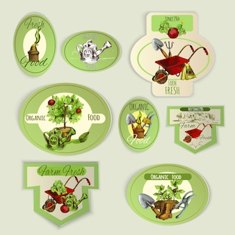 Emblèmes de jardinage de légumes