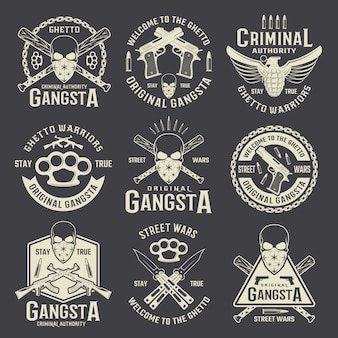 Emblèmes monochromes de l'autorité criminelle
