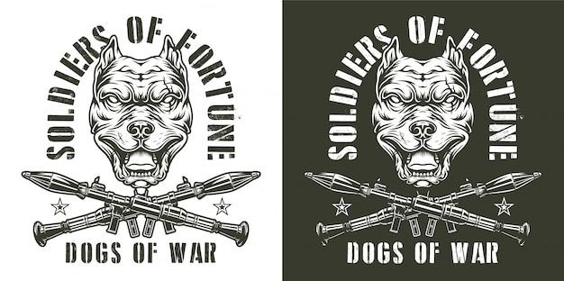Emblèmes monochromes militaires vintage