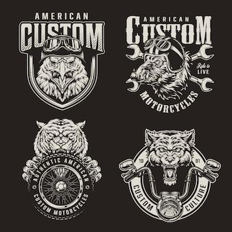 Emblèmes de moto personnalisés monochrome vintage