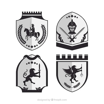 Emblèmes en noir et blanc de chevaliers