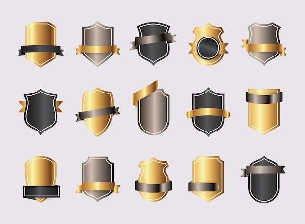 Emblèmes d'or vierge bouclier