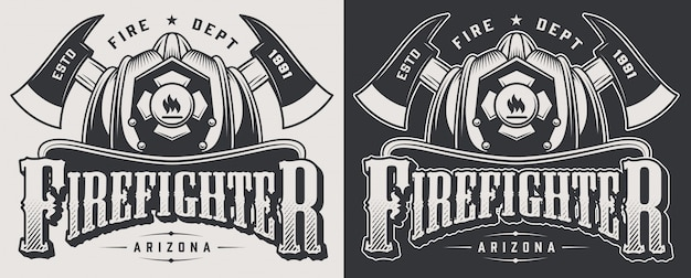 Emblèmes de pompier vintage avec haches croisées et crâne barbu portant une illustration de casque de pompier