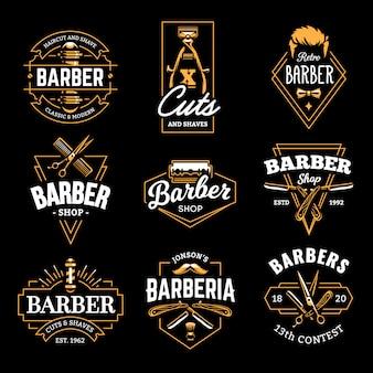 Emblèmes rétro du salon de coiffure