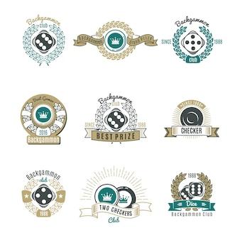 Emblèmes de style rétro des clubs de backgammon