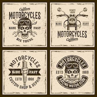 Emblèmes vintage de motos, badges, timbres ou t-shirts imprimés sur fond grunge