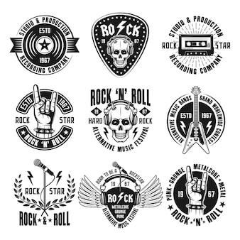 Emblèmes vintage de musique rock