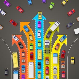 Embouteillage avec des flèches directionnelles. illustration vectorielle