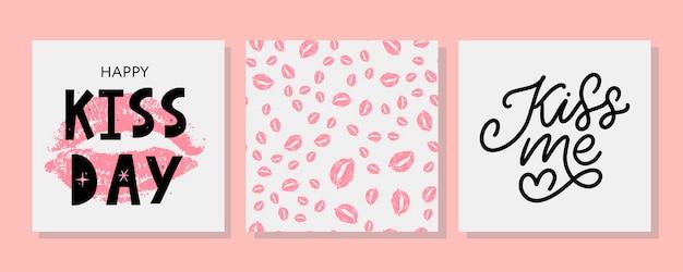 Embrasse-moi main lettrage et motif avec des lèvres rouges féminines