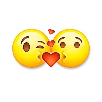 Embrasser des émoticônes, icônes d'émoticônes saint valentin