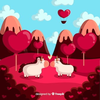 Embrasser des licornes fond de saint-valentin
