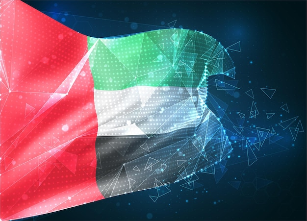 Emirats arabes unis, drapeau vectoriel, objet 3d abstrait virtuel à partir de polygones triangulaires sur fond bleu