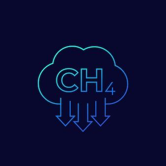 Émissions de méthane, icône linéaire vectorielle ch4