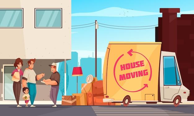 Emménagement dans un nouvel appartement, la famille et le chauffeur de camion signent une lettre de voiture en plein air