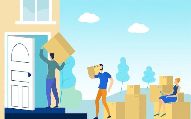 Emménager dans un nouveau concept de maison, choses dans des boîtes,