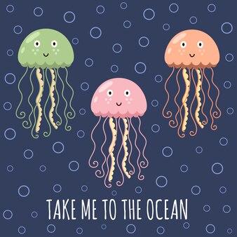 Emmenez-moi à la carte de l'océan avec de jolies méduses.