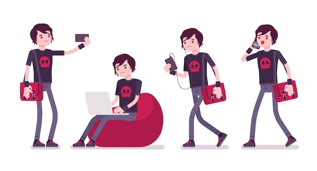 Emo boy avec différents gadgets