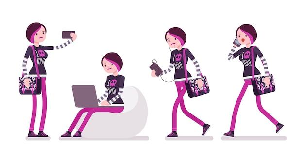 Emo girl avec différents gadgets