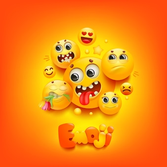 Emoji cartoon group smile character sur fond jaune. expression faciale.