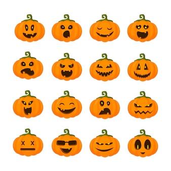Emoji de citrouilles pour halloween, isolés, icônes sur blanc, personnages effrayants drôles