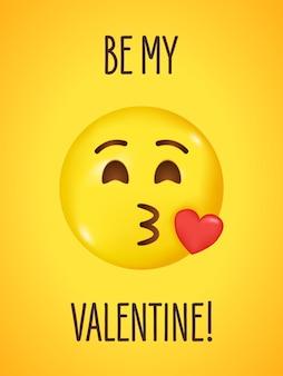 Emoji avec coeur rouge baiser volant et visage clignotant