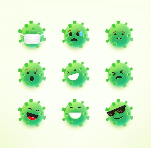 Emoji de coronavirus avec différentes émotions